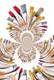 Kaleidoscopic Pattern of Brushes Stock Photography