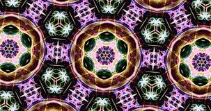 Kaleidoscopic Pattern On Dark Background In Vibrant Colors. Abstract Kaleidoscope Patterns On Dark Background In Green Purple Yellow Lines stock illustration