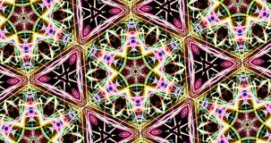 Kaleidoscopic Pattern On Dark Background In Vibrant Colors. Abstract Kaleidoscope Patterns On Dark Background In Green Purple Yellow Lines royalty free illustration