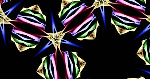 Kaleidoscopic Pattern On Dark Background In Vibrant Colors. Abstract Kaleidoscope Patterns On Dark Background In Green Yellow Purple Orange Red Blue White Lines Stock Photo