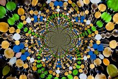 Kaleidoscopic Pattern of Glass  Beads Royalty Free Stock Images