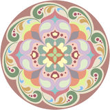 Kaleidoscopic round floral tatoo. Mandala in colour Royalty Free Stock Photo