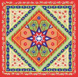 Tajik Peasant Style Bandanna Design. Kaleidoscopic symmetry in abstract florid designs typical of Uzbekistan and Afghanistan, with Iranian and Islamic influences Stock Images