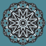 Kaleidoscopic tile. With arabic motives. Round star-formed mandala-like background element with hand drawn art Stock Image