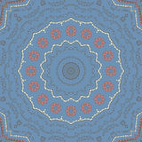 Kaleidoscopic tile. With arabic motives. Round star-formed mandala-like background element with hand drawn art Stock Photo