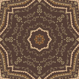 Kaleidoscopic tile. With arabic motives. Round star-formed mandala-like background element with hand drawn art Stock Photos