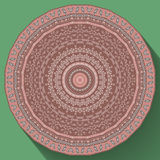 Kaleidoscopic tile. With arabic motives. Round star-formed mandala-like background element with hand drawn art. Flat style long shadow Royalty Free Stock Photos