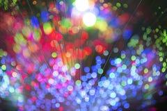 Kaleidoskopische, bunte mehrfarbige Faseroptiklichter auf einer Querstation lizenzfreie stockfotos