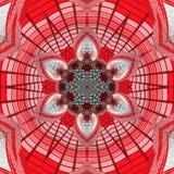 Kaleidoskopische Strawflower-Mandala im Rot und in der Grenadine lizenzfreie abbildung