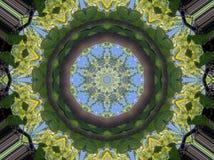 Kaleidoskopmuster von Niederlassungen und von Himmel Stockfoto