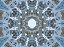 Kaleidoskopmuster-Zusammenfassungshintergrund des blauen Graus Punkt, Lautsprecher, industrieller Hintergrund Abstrakter Fractalk lizenzfreie abbildung