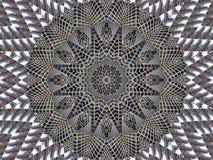 Kaleidoskopmuster-Zusammenfassungshintergrund des grauen Weiß Punkt, Lautsprecher, industrieller Hintergrund Abstrakter Fractalka lizenzfreie abbildung