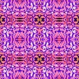Kalejdoskopowy abstrakcjonistyczny plemienny bezszwowy wzór nowożytna elegancka tekstura Wielostrzałowe geometryczne płytki Tekst royalty ilustracja