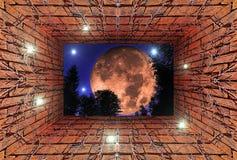 Kalejdoskopowy gradientu 3D widok stary tunel z ścianą z cegieł ilustracja wektor