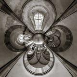 Kalejdoskopsikt av den gotiska kyrkliga inre, liten planeteffekt Royaltyfri Foto