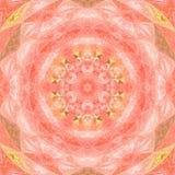Kalejdoskopu mandala gwiazda z okrąg akwareli ilustracją w menchiach i pomarańcze kolorach fotografia royalty free