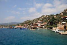 Kalekoy by på den turkiska ön av Kekova Arkivbilder