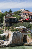 Kalekoy Simena settlement in Uchagiz bay of Turkey Royalty Free Stock Photo