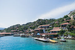 Kalekoy Simena settlement in Uchagiz bay of Turkey Royalty Free Stock Photography