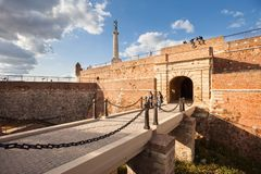 Kalemegdan, Belgrade, Serbia. BELGRADE, Serbia - 4 Sept: Tourists walk through Belgrade`s Kalemegdan Fortress on 4 Sept 2017 stock image