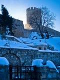 Kalemegdan fästning i vinter royaltyfria foton