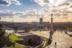 Kalemegdan fortress in Belgrade. Statue of Victory - Kalemegdan fortress in Belgrade Stock Images