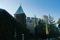 Kalemegdan fortress with a church inside fortress walls at early morning in Belgrade Royalty Free Stock Photos