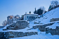 Kalemegdan fortress covered with snow. Fortress is positioned at the confluence of rivers Danube and Sava, at the city of Belgrade Stock Photos
