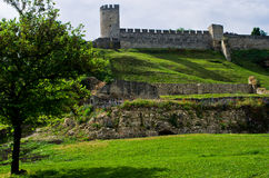 Kalemegdan fortress in spring, a view from right bank of Danube river in Belgrade Royalty Free Stock Photography