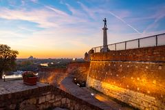 Kalemegdan fortress,Victor the monument and Sava river stock image