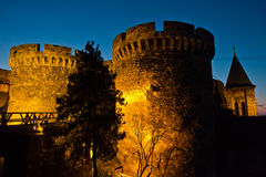 Kalemegdan fortress wooden bridge, gates and towers at twilight in Belgrade Royalty Free Stock Photography