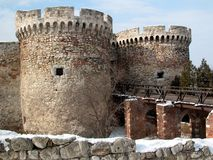 Kalemegdan main gate. Kalemegdan fortess is the oldest part of Belgrade. On its west part there is a statue of winner. Around the fortress, there is a park Royalty Free Stock Images