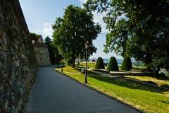 Kalemegdan park at sunny morning inside fortress walls in Belgrade Royalty Free Stock Image