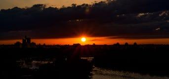 Kalemegdan solnedgångbelgrage arkivfoton