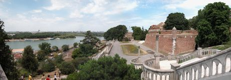 Kalemegdan terrace. Kalemegdan fortress is located above confluence of rivers Sava and Danube royalty free stock image