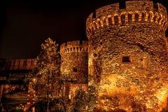 Kalemegdanvesting bij nacht Belgrado, Servië royalty-vrije stock afbeeldingen