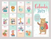 Kalendarz 2019 Śliczny miesięcznika kalendarz z lasowymi zwierzętami ilustracji
