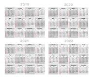 Kalendarz 2019,2020,2021,2022 ilustracji