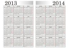 KALENDARZ 2013-2014 Obrazy Royalty Free