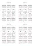 Kalendarz 2013,2014,2015,2016 Obraz Royalty Free