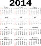Kalendarz 2014 Zdjęcia Royalty Free