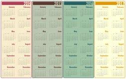 2014-2017 kalendarz Zdjęcia Stock