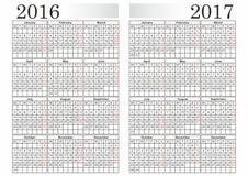 KALENDARZ 2016-2017 Zdjęcie Stock