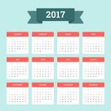 Kalendarz 2017 Zdjęcie Stock