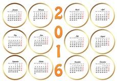 Kalendarz 2016 Zdjęcie Stock