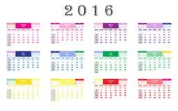 Kalendarz 2016 Obraz Royalty Free