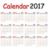 Kalendarz 2017 Fotografia Royalty Free