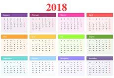 Kalendarz 2018 Fotografia Royalty Free
