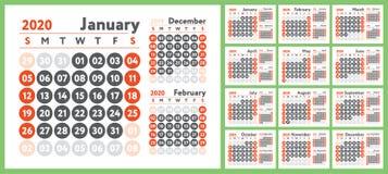2020 kalendarz Angielszczyzna kalendarz Koloru projekta wektorowy szablon Na Niedziela tydzie? pocz?tek Biznesowy planowanie Nowe ilustracja wektor