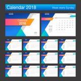 2018 kalendarz Biurko kalendarza nowożytnego projekta szablon Tygodni początki Obrazy Royalty Free